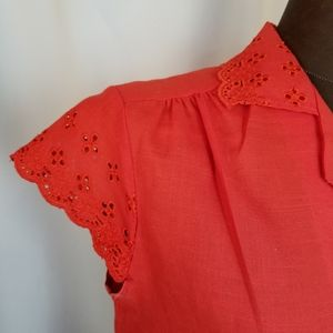 Red orange eyelet button down top S vintage 70s
